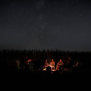 Faraway shot of people sitting around campfire at night